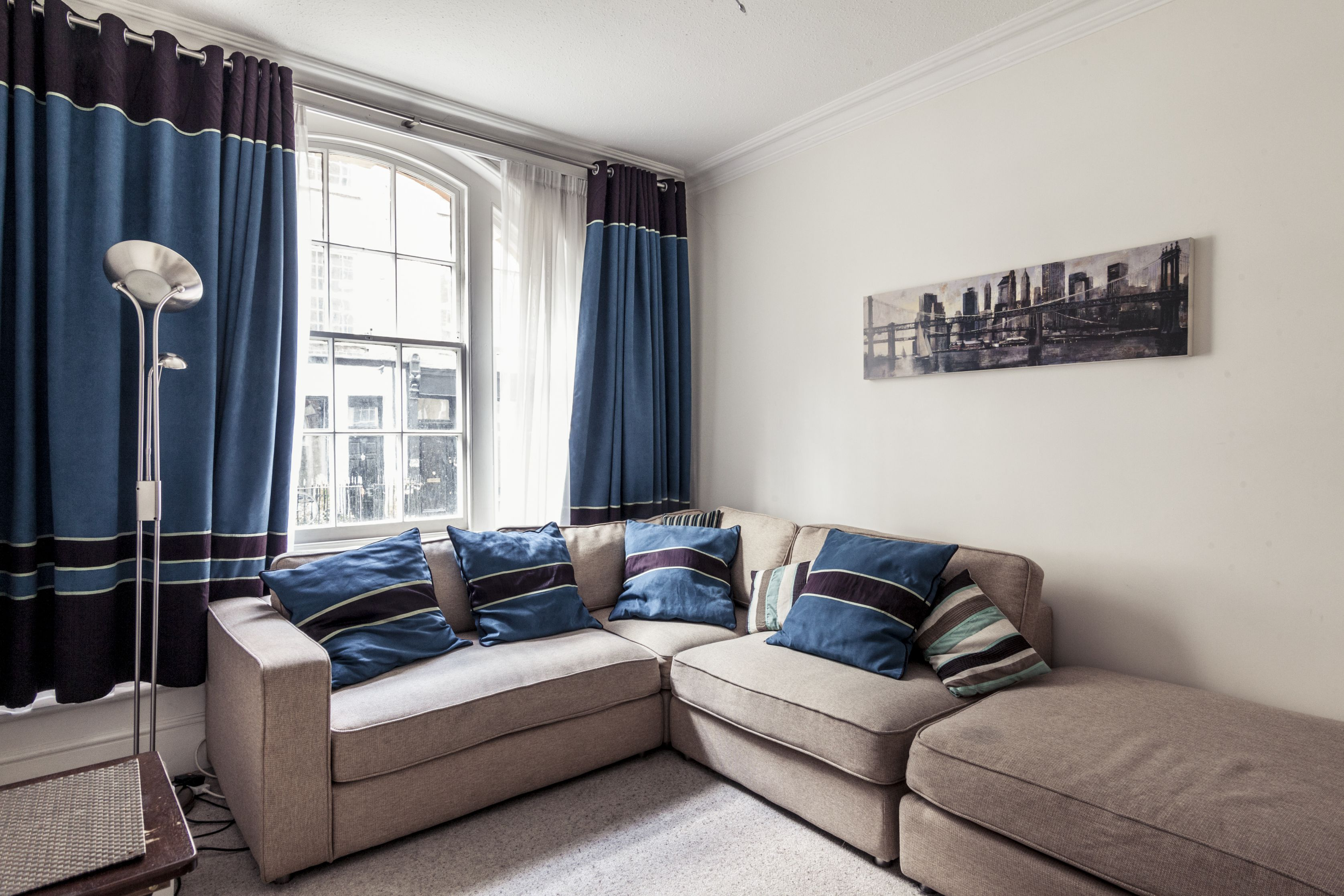 A photo of our Oxford Street apartment's living room