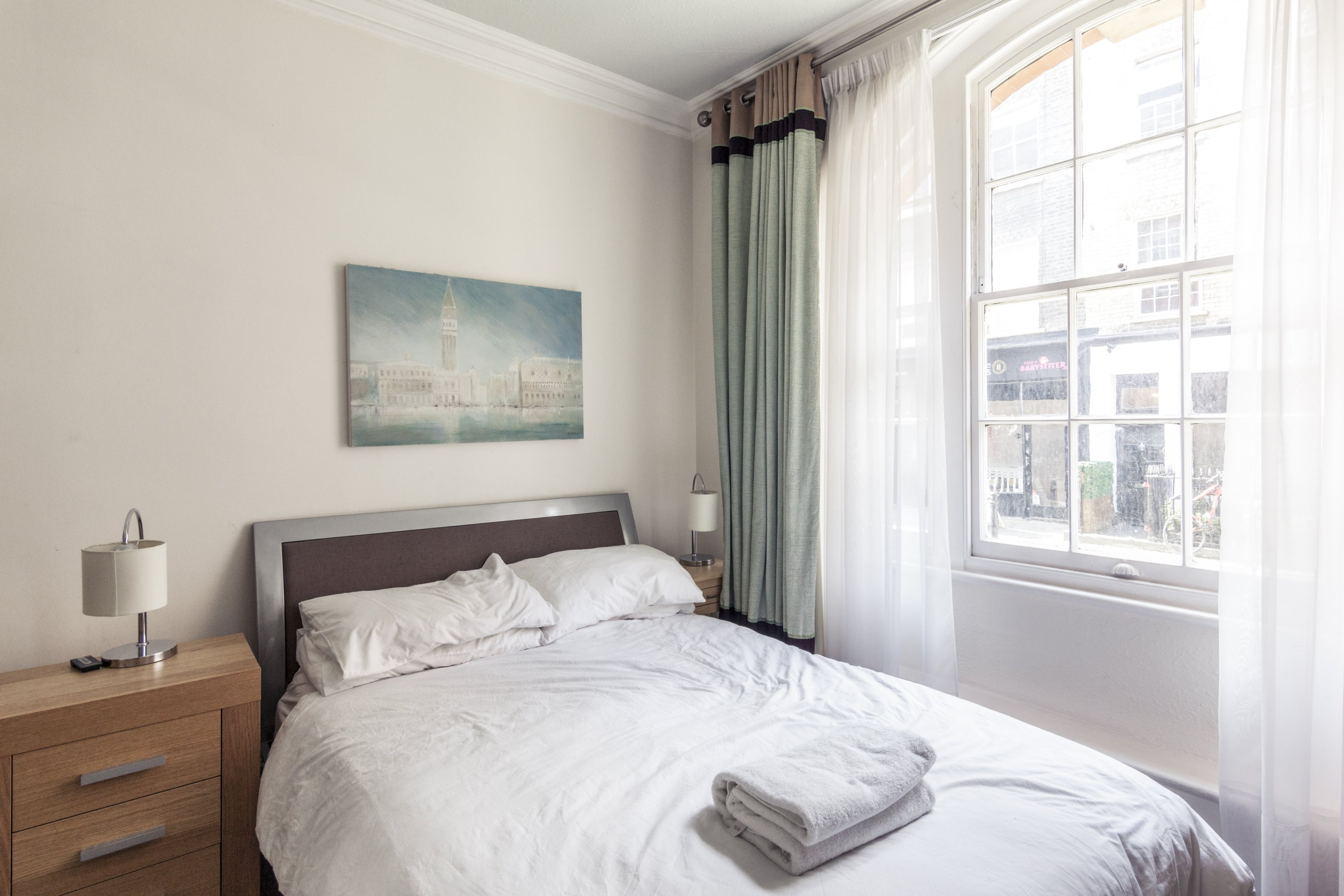 A photo of our Oxford Street apartment's bedroom