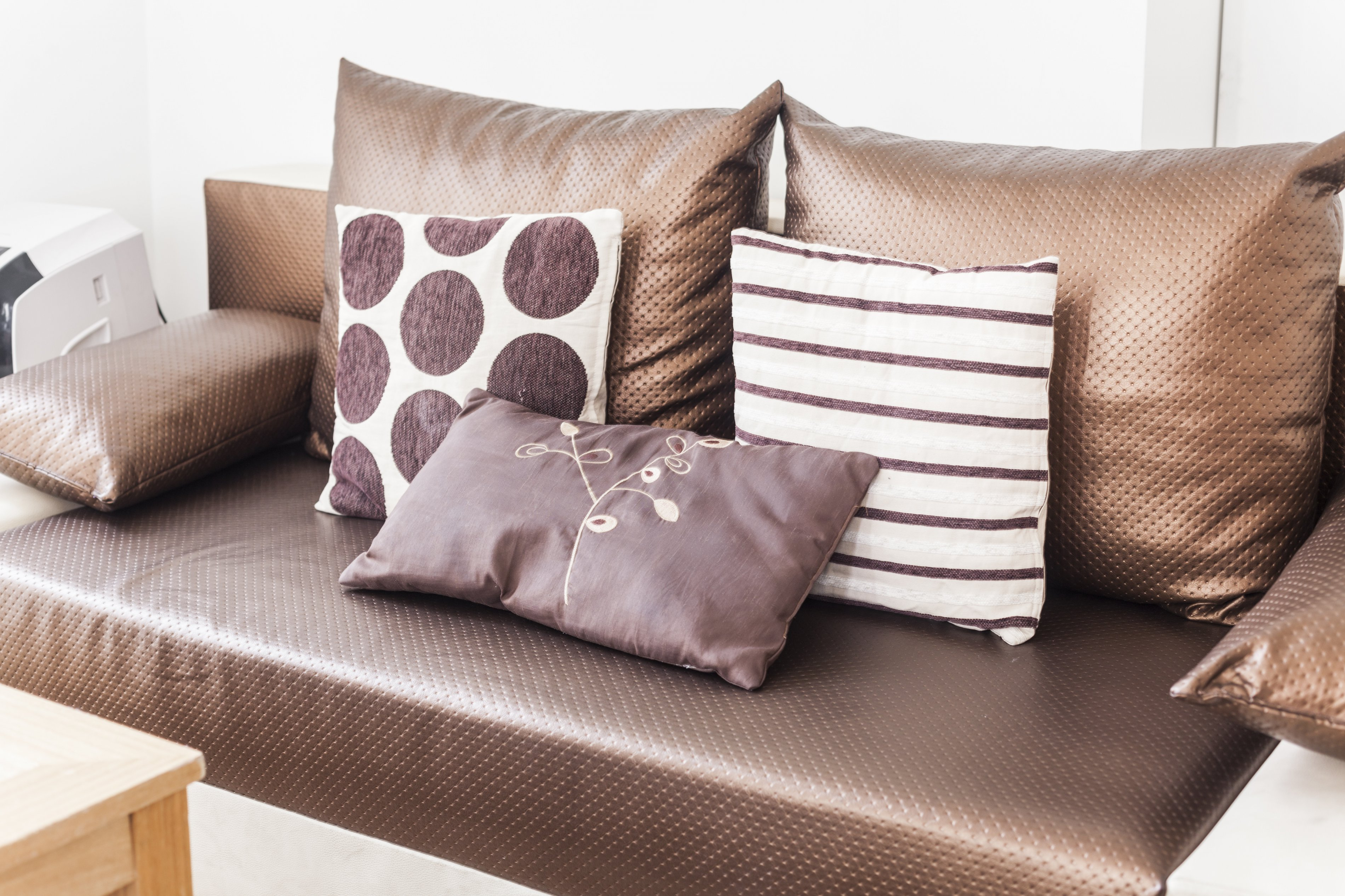 A photo of our Euston apartment's living room sofa
