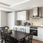 A photo of our King's Cross apartment's open plan kitchen